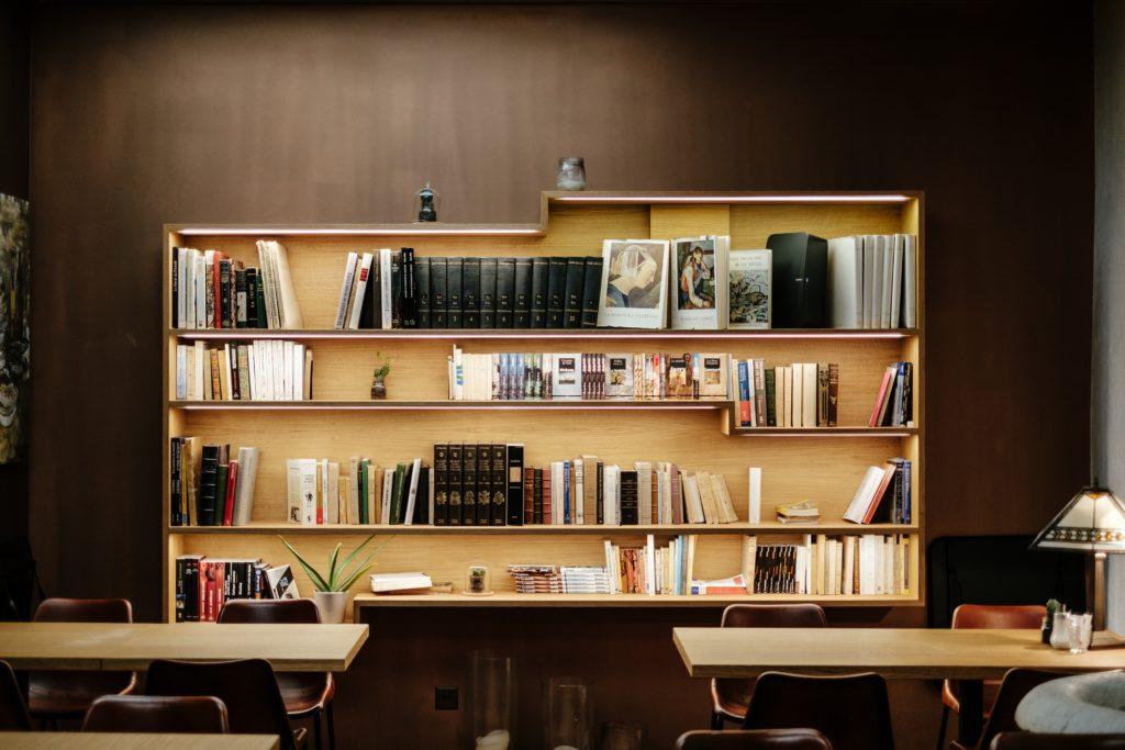 A Bookshelf in a Classroom
